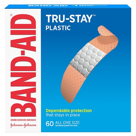 Image of Band-Aid Plastic Brand Adhesive Bandages Strips All One Size - 60 ea