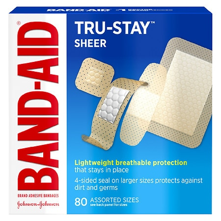 Band-Aid Tru-Stay Sheer Strips Adhesive Bandages Assorted Sizes - 80 ea