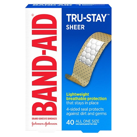 Band-Aid Tru-Stay Sheer Strips Adhesive Bandages All One Size - 40 ea