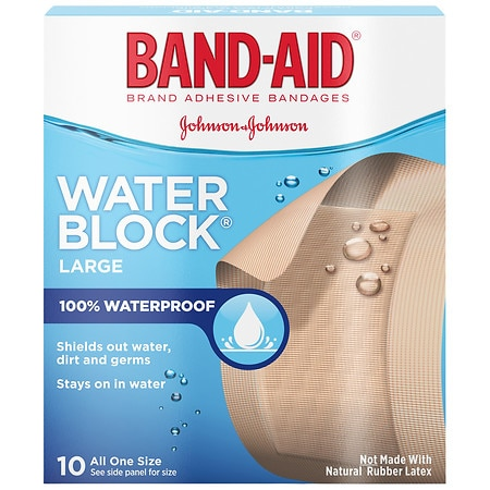 Band-Aid Water Block Plus Adhesive Bandages 2 in x 3 in - 10 ea