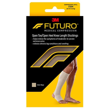 FUTURO Therapeutic Support Open Toe/Heel, Knee High, Firm Compression Beige