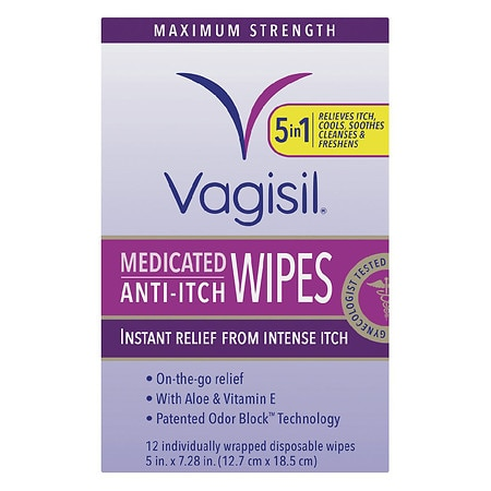 Vagisil Anti-Itch Medicated Wipes - 12 ea