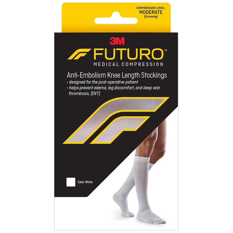 Futuro Anti Embolism Moderate Compression Knee Length Closed Toe Stockings White White Walgreens