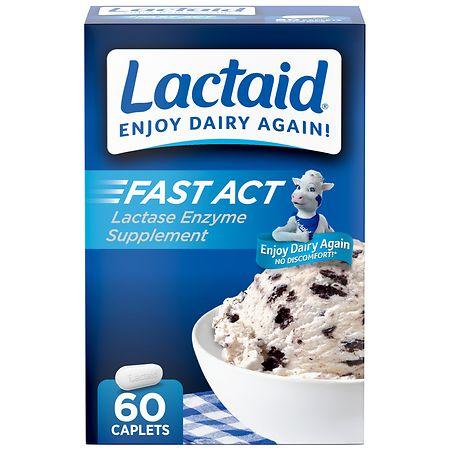 Lactaid Fast Act Lactase Enzyme Supplement, Caplets Vanilla - 60 ea