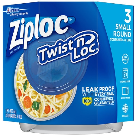 Ziploc Twist 'n Loc Containers Small 2 Cup - 3 ea