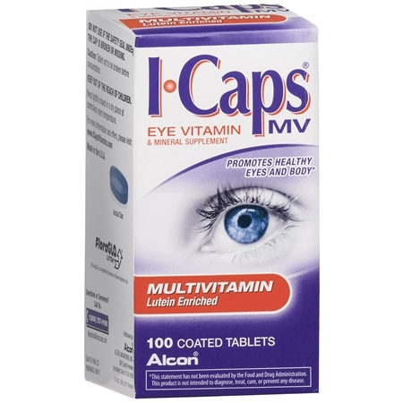 Image of ICaps by Alcon, Lutein Enriched Multivitamin, Coated Tablets - 100 ea