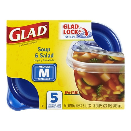 Glad Food Storage Containers, Soup & Salad 24 oz