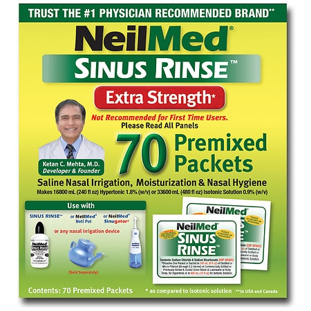 NeilMed Sinus Rinse Saline Nasal Rinse Premixed Packets - 70 ea