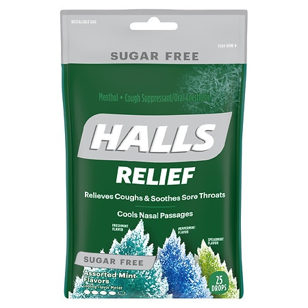 Halls Defense Mentho-Lyptus Cough Drops Sugar Free Assorted Mint - 25 ea