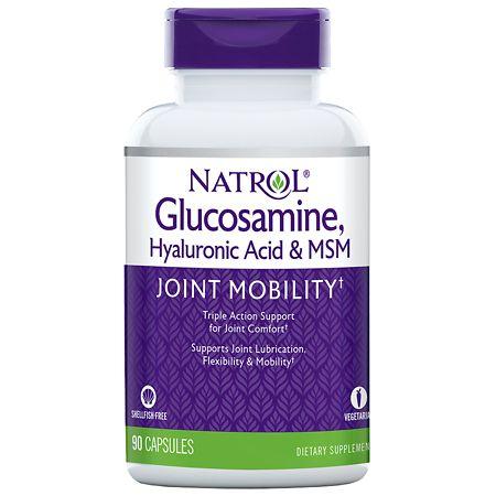 Natrol Hyaluronic Acid, MSM & Glucosamine, Vegetarian Capsules - 90 ea