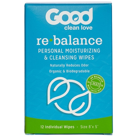 Image of Good Clean Love Rebalance Personal Moisturizing & Cleansing Wipes - 12 ea