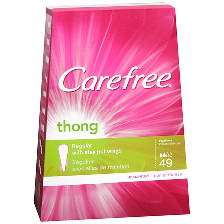 Carefree Pantiliners for Thongs with Stay Put Wings Unscented, Regular