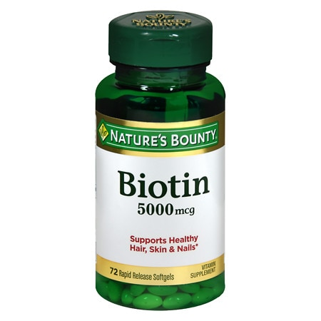 Nature's Bounty Super Potency Biotin 5000 mcg Vitamin Supplement Rapid Release Liquid Softgels - 60 ea