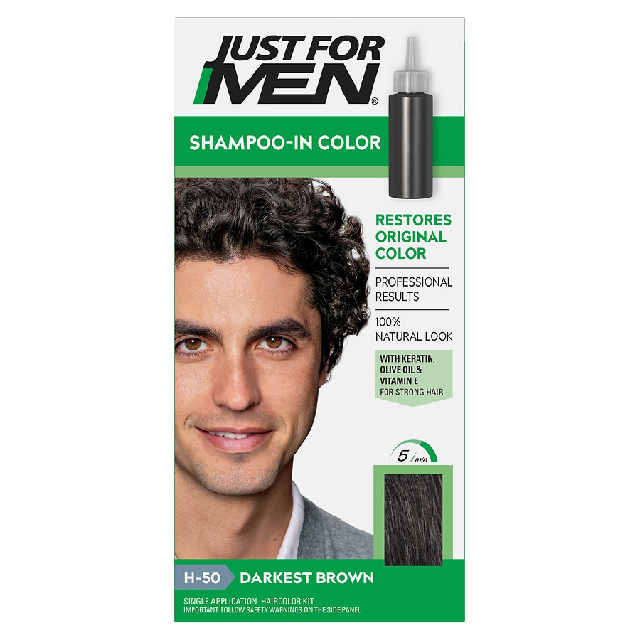 Just For Men Shampoo-In Haircolor,H-50 Darkest Brown | Walgreens
