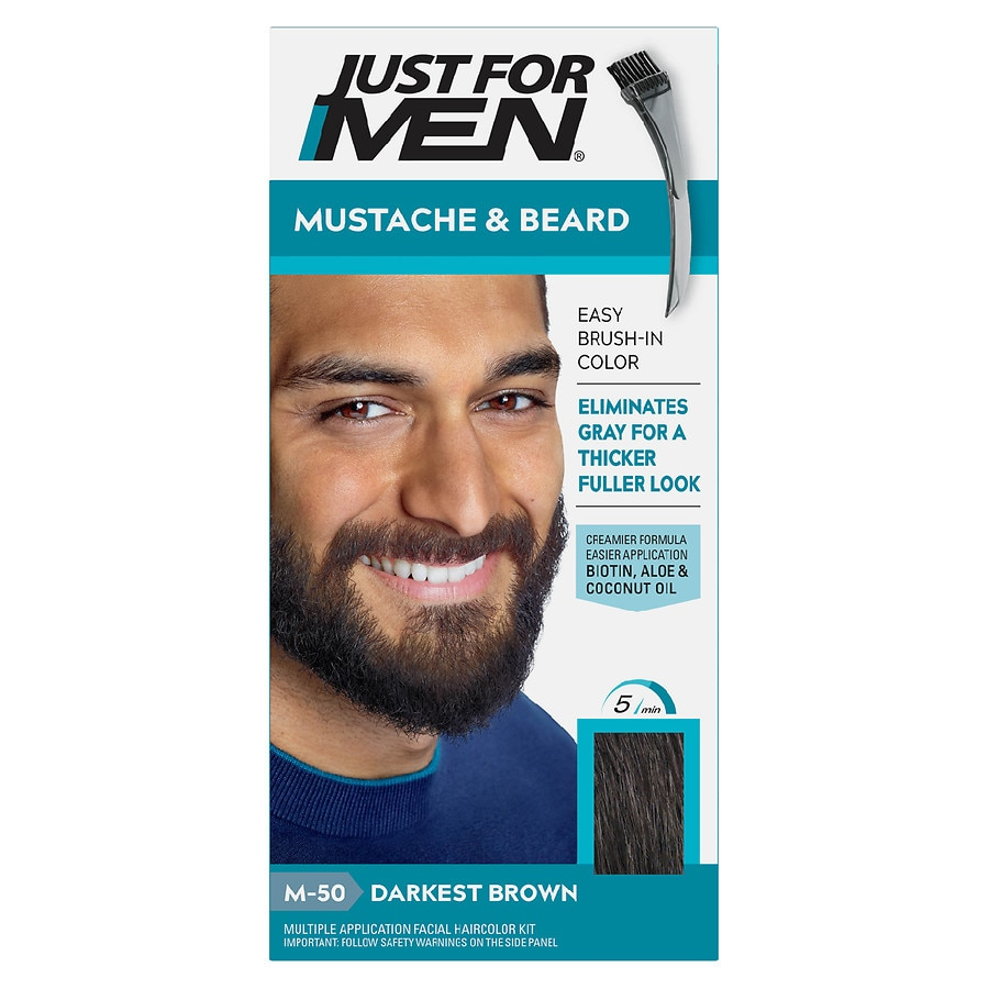 Just For Men Brush-In Color Gel for Mustache & Beard,M-50 Darkest ...