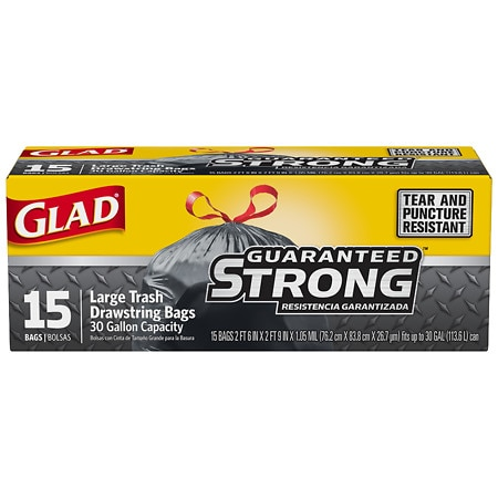 Glad Extra Strong Drawstring Large Trash Bags 30 Gallon
