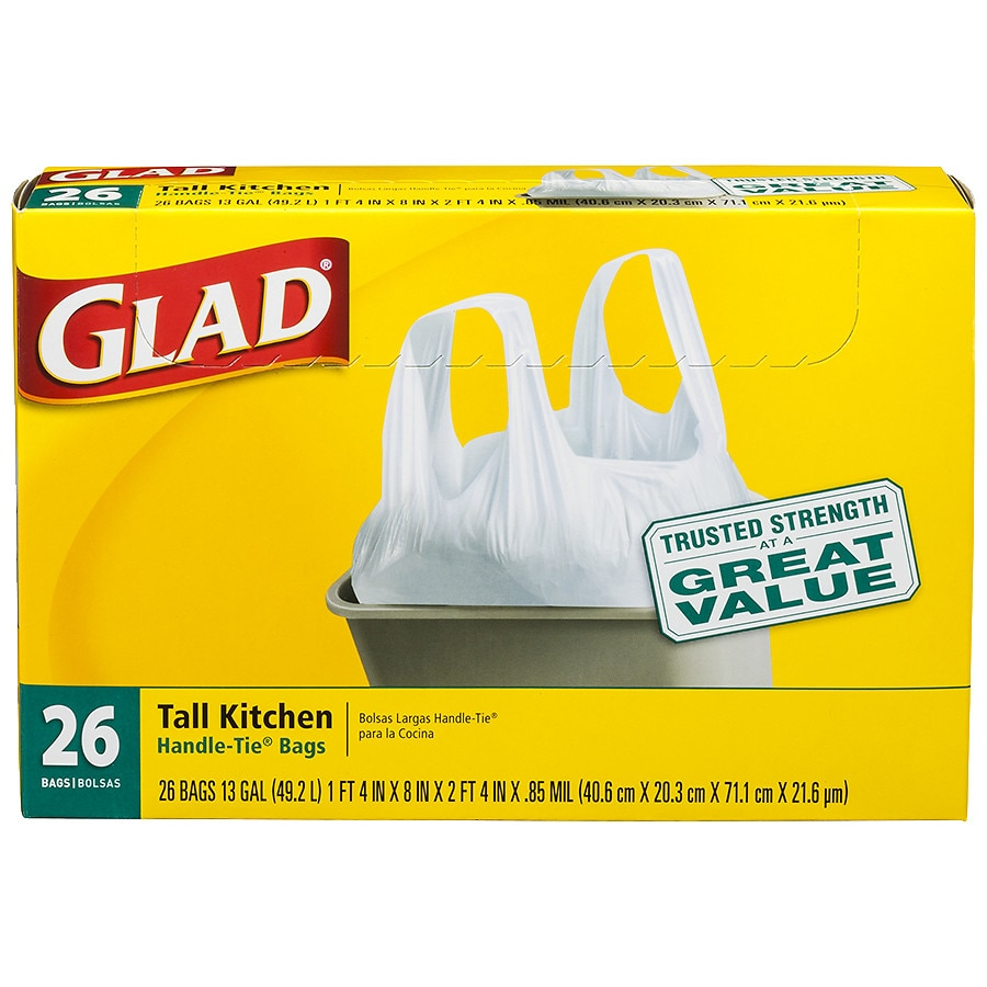 Glad Tall Kitchen Handle Tie Trash Bags 13 Gallon White26ea