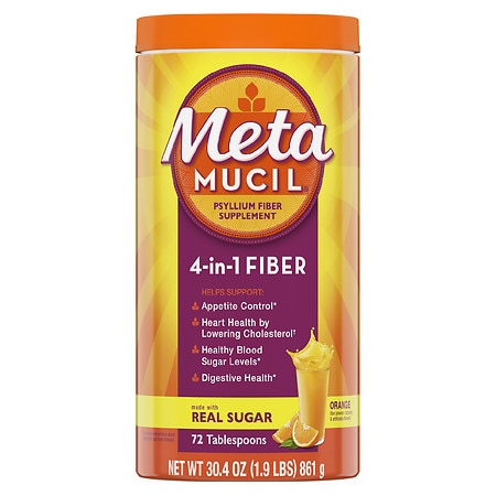 Metamucil Multi-Health Psyllium Fiber Supplement Powder with Real Sugar Orange - 30.4 oz.