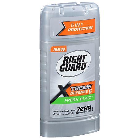 Right Guard Xtreme Defense 5, Antiperspirant & Deodorant Invisible Solid Fresh Blast - 2.6 oz.