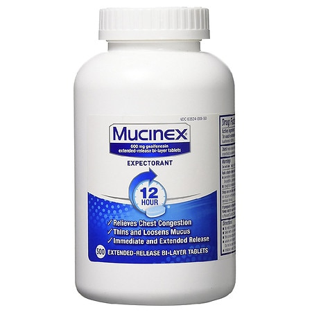 Mucinex Expectorant, 600mg, Extended-Release Bi-Layer Tablets - 500 ea