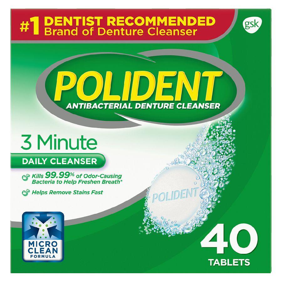polident 3 minute antibacterial denture cleanser triple mint
