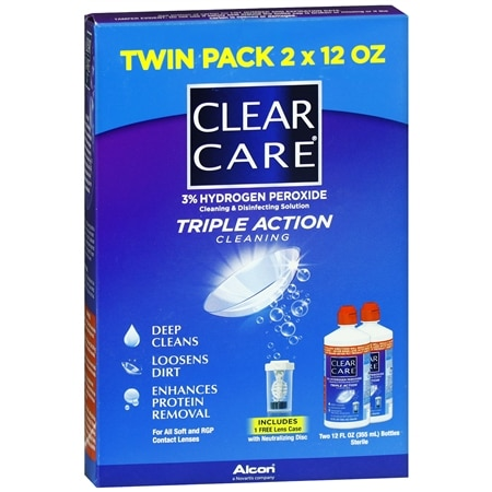 2-Pack Clear Care Triple Action Cleaning & Disinfecting Solution 24.0 oz