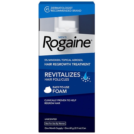 Men's Rogaine Hair Regrowth Treatment Foam Unscented, 1 Month Supply