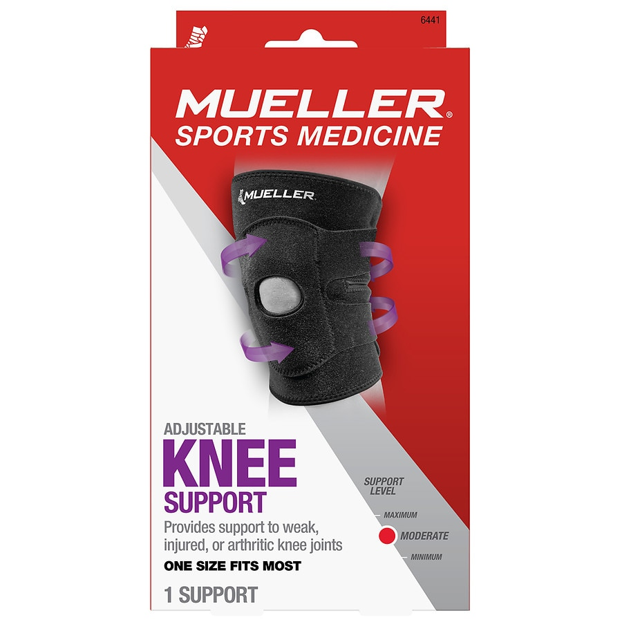 5719f3d9bc Mueller Sport Care Adjustable Knee Brace, Moderate Support, Model 6441 One  Size Black1.0 ea