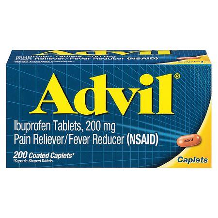 Advil Ibuprofen Pain Reliever/Fever Reducer Caplets, 200mg - 100 ea