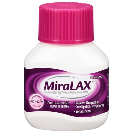 MiraLAX 7 dose powder laxative- Polyethylene Glycol 3350 (PEG 3350) Unflavored - 4.1 oz.