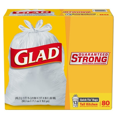 Glad Tall Kitchen Quick-tie Trash Bags 13 Gallon 80 Ea