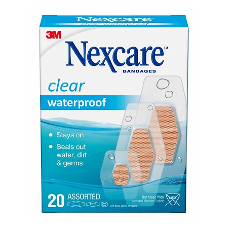 Nexcare Waterproof Clear Bandages, Assorted - 20 ea