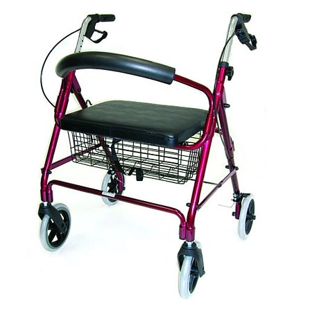 Duro-Med Lightweight Extra-Wide Rollator - 375 lb Weight Capacity Burgundy