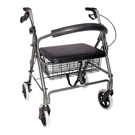 Duro-Med Lightweight Extra-Wide Rollator - 375 lb Weight Capacity Titanium