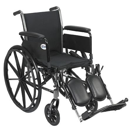 Drive Medical Cruiser III Lightweight Wheelchair w Flip Back Removable Full Arms and Leg Rest 18 Inch