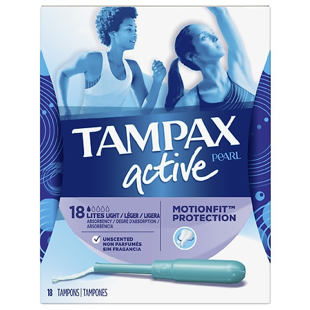 Tampax Active Plastic Tampons Unscented, Lite - 18 ea