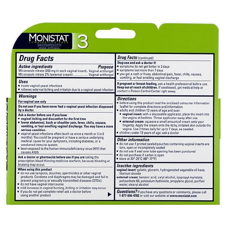 Monistat 3 Dual Action 3 Day Combination Pack Vaginal Antifungal