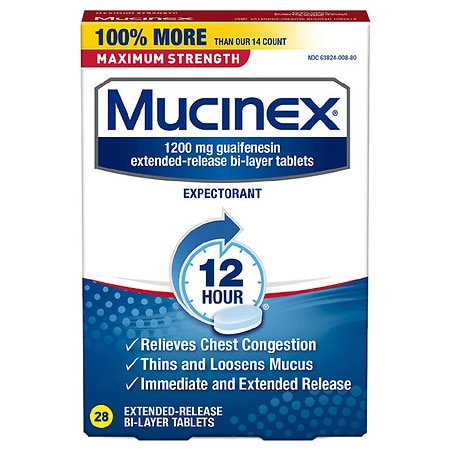 Mucinex Maximum Strength Expectorant, Extended-Release Bi-Layer Tablets, 1200 mg - 28 ea