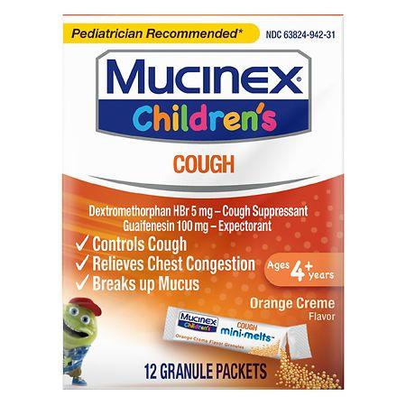 Children's Mucinex Cough Expectorant and Suppressant, Mini-Melts Orange Creme - 12 ea