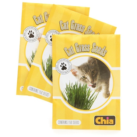 CHIA Cat Grass Refill Seeds - CHIA Cat Grass Handmade Decorative Grass Planter Snoozing Kitty
