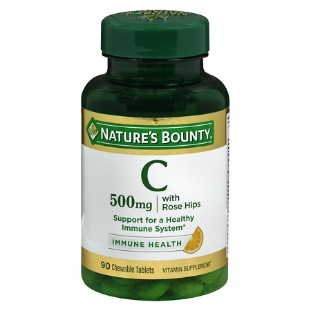 Nature's Bounty Delicious Chewable Vitamin C-500 mg With Rose Hips, Tablets - 90 ea