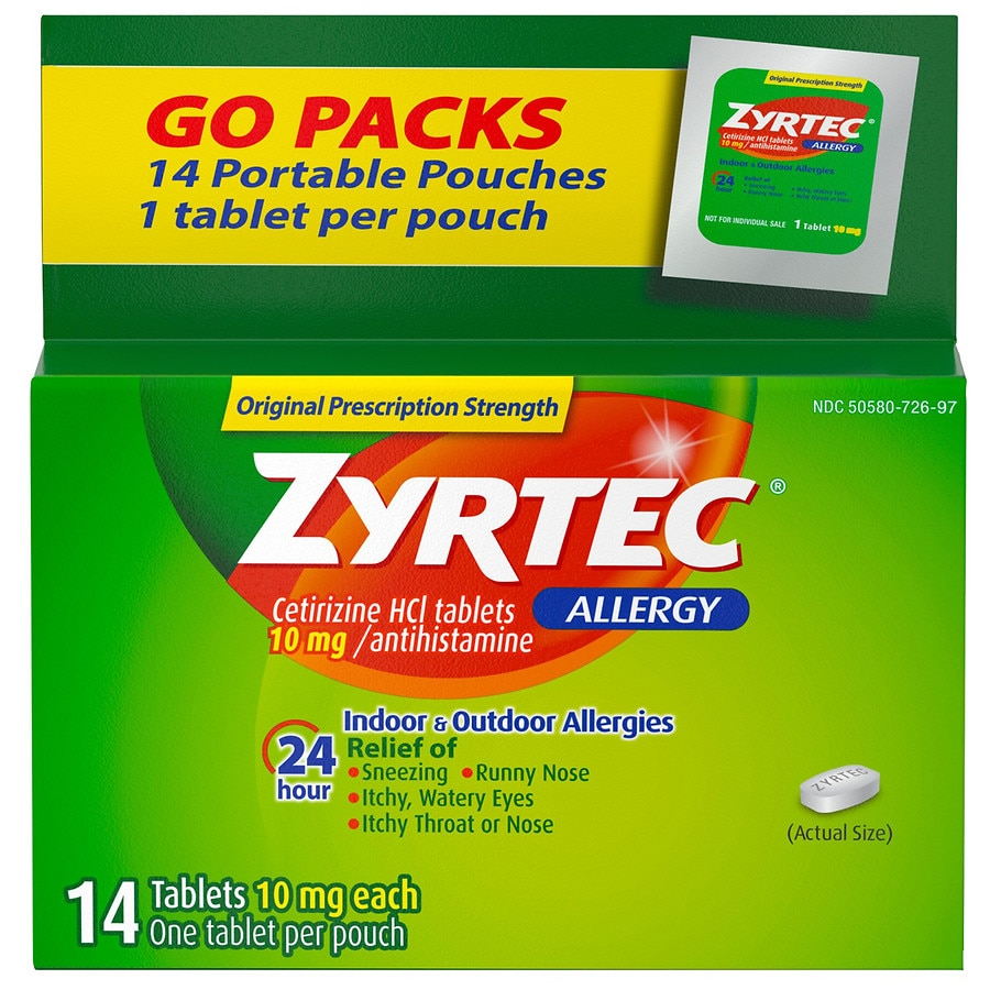 Zyrtec 24 Hour Allergy Relief Tablets With 10 Mg Cetirizine Hcl