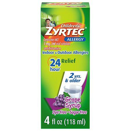 Children's Zyrtec Allergy Syrup, Sugar Free Grape