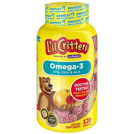 L'il Critters Omega-3 DHA Gummy Fish Assorted - 120 ea