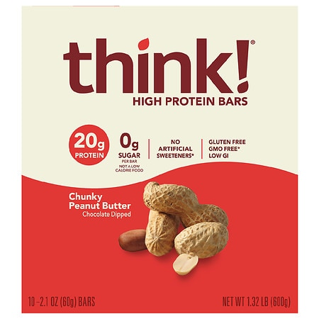 thinkThin High Protein Bars Chunky Peanut Butter, 10 pk