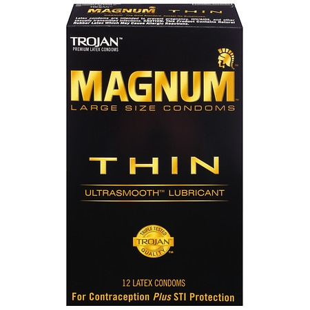 Trojan Magnum Lubricated Latex Condoms, Thin Large