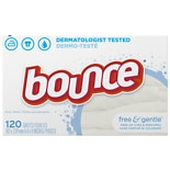 Bounce Fabric Softener Dryer Sheets Free & Gentle Unscented