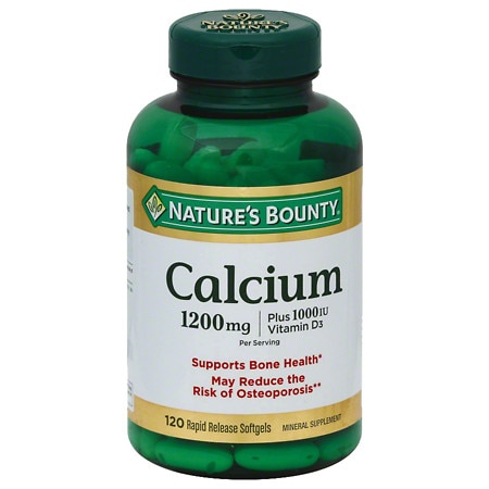 Nature's Bounty Calcium 1200 mg plus Vitamin D3 1000 IU Dietary Supplement Softgels - 100 ea
