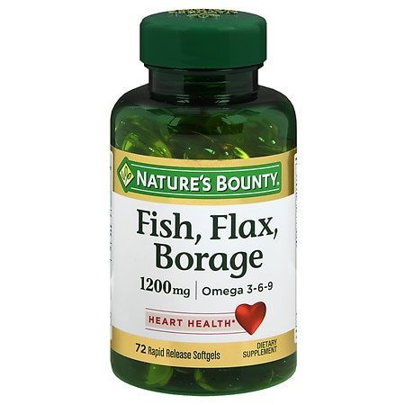 Nature's Bounty Fish, Flax, Borage 1200 mg Dietary Supplement Softgels - 60 ea