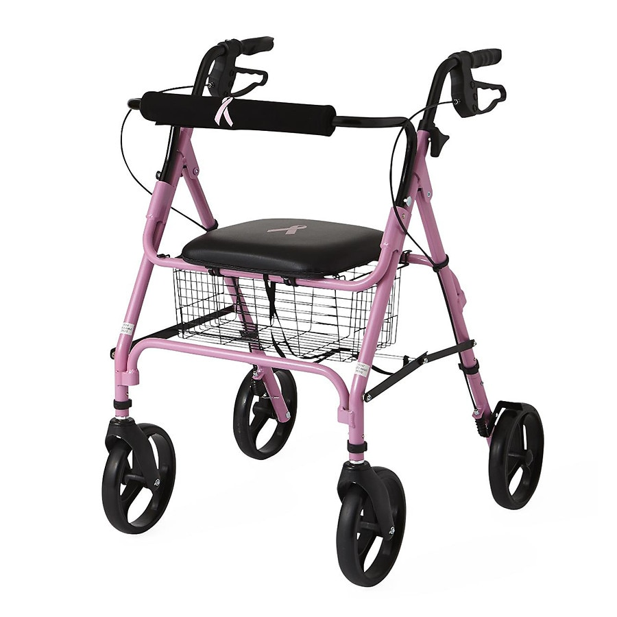 medline breast cancer awareness 4 wheeled walker walgreens. Black Bedroom Furniture Sets. Home Design Ideas
